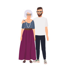 grandson embracing his grandmother family vector image