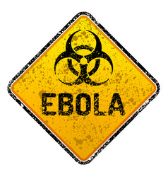 grunge ebola virus biohazard warning sign vector image