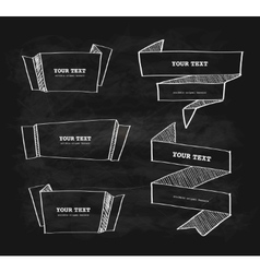 hand-drawn origami banner chalkboard vector image