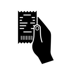hand holding cash receipt glyph icon vector image
