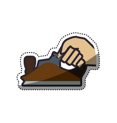 hand holding metal smoothing plane carpentry tool vector image