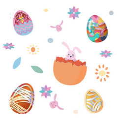 Happy easter seamless pattern set of easter eggs vector
