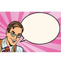 Happy man with glasses pop art retro vector