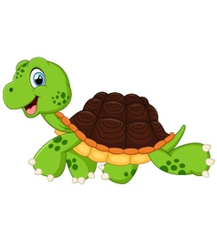 Happy turtle walking vector