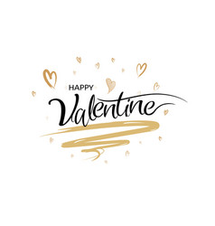 happy valentines calligraphy with art brush style vector image