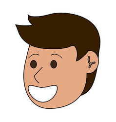 happy young men face cartoon vector image