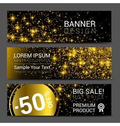 Horizontal Golden Dust Banners Set Discount vector image