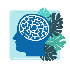 human brain in head in form of labyrinth vector image
