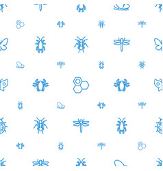 insect icons pattern seamless white background vector image