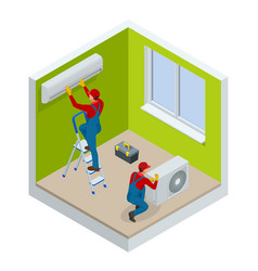 isometric technician repairing split air vector image