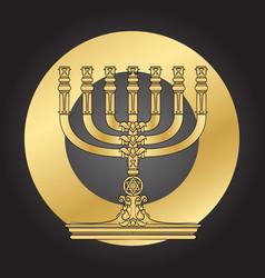Jewish menorah candlestick elegant greeting card vector