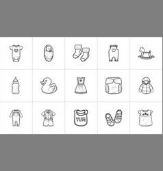 kids hand drawn sketch icon set vector image