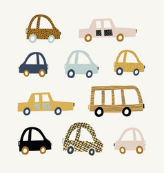Kids with cute cars vector