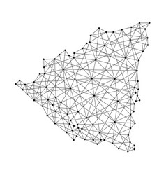 map of nicaragua from polygonal black lines vector image