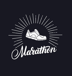 Marathon hand written lettering with running shoes vector