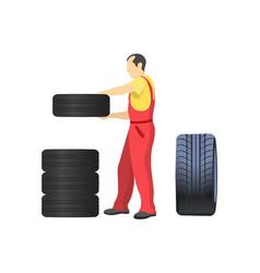 Mechanic arranging wheels putting tires together vector