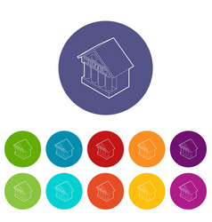 Museum building icons set color vector