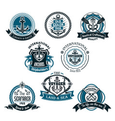 Nautical and marine icons set vector
