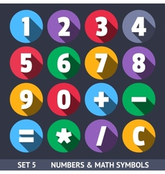 Numbers and Mathematical Symbols Icons With Long vector