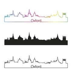 Oxford skyline linear style with rainbow vector