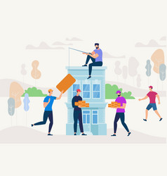 people working together to build new house vector image