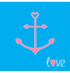 Pink anchor with shapes of heart love card vector
