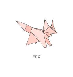 pink origami fox creative wild animal shape vector image