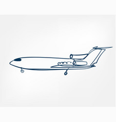 plane one line isolated design element vector image