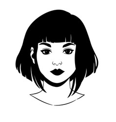 Portrait a beautiful girl with short haircut vector