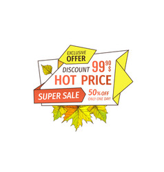 promotional label with maple leaves oak foliage vector image