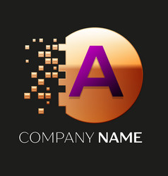 Purple letter a logo in the golden pixel circle vector