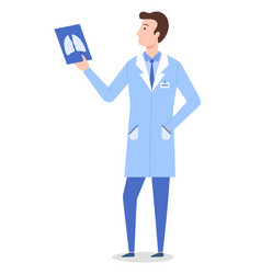 Radiologist standing and examining x-ray lungs vector
