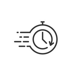 Recovery icon in flat style repeat clock on white vector