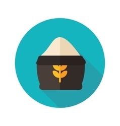 Sack of flour flat icon with long shadow vector image