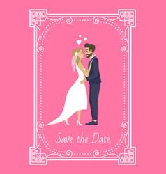 Save date bride and groom wedding invitation vector