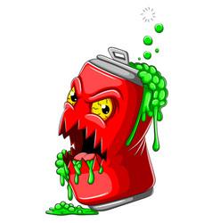 Scary cola tin zombie cartoon vector