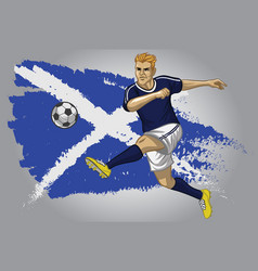 Scotland soccer player with flag as a background vector