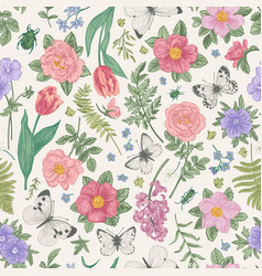 seamless pattern summer flowers vector image