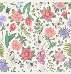 seamless pattern summer flowers vector image