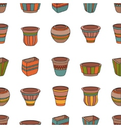 Seamless pattern with clay flower pots vector image