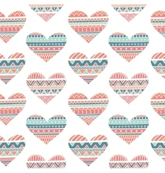 Seamless Pattern with Hearts in Ethnic Style vector