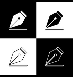 Set fountain pen nib icons isolated on black and vector