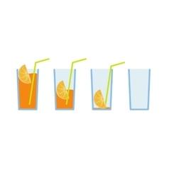 Set of orange juice coctail vector image