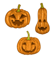 set scary halloween pumpkin isolated on white vector image