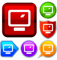 Set shiny icon series on buttons computer vector