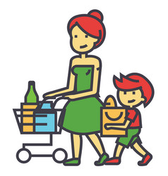 shopping grocery mother with son and shopping vector image
