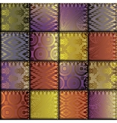 Silk patchwork with relief stitches vector