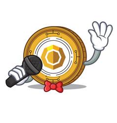 Singing komodo coin mascot cartoon vector