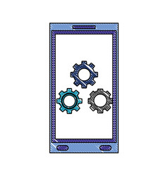 smartphone gears settings technology device color vector image