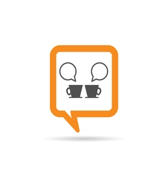 square orange speech bubble with two cup of coffee vector image